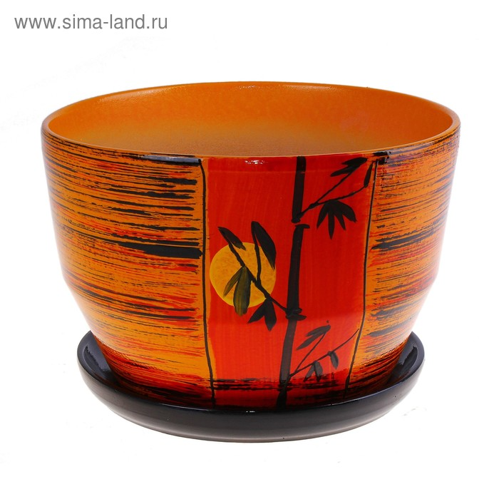 "Кашпо ""Бамбук на фоне заката"" оранжевое 1,8 л"