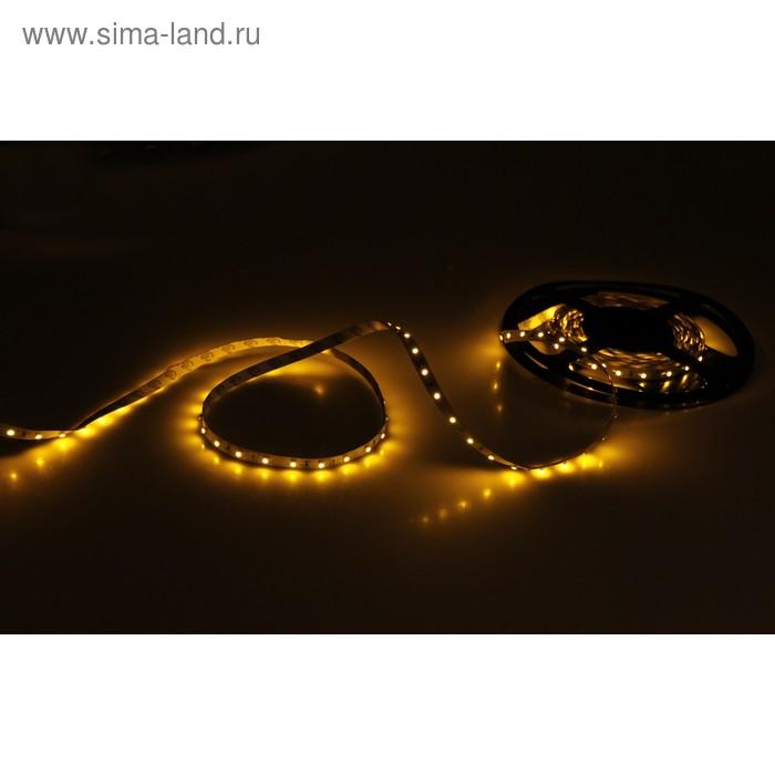Светодиодная лента SMD3528, 5 м. IP33, 60LED, желтый, 4,8W/метр, разъем DC,