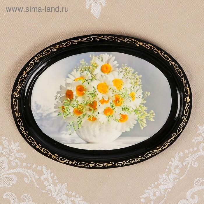 Поднос лаковая миниатюра 19х25 см овальный Цветы микс