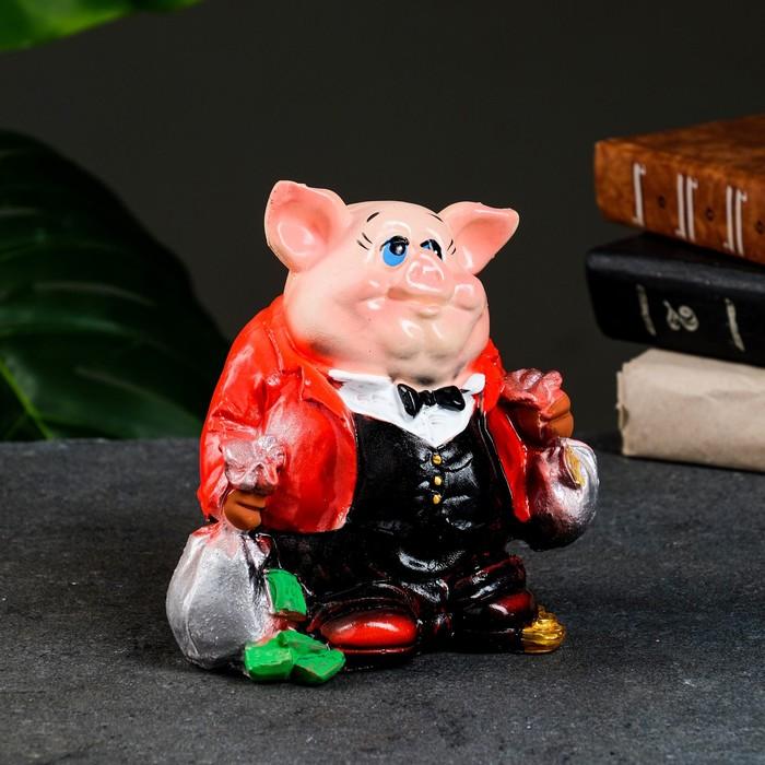 "Копилка ""Свинка: банкир"" красная"