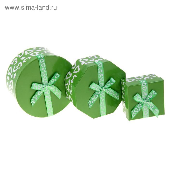 """Набор коробок 3в1 """"Сердечки"""", цвет зелёный"""