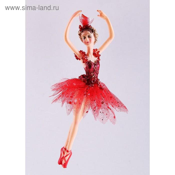 """Новогоднее украшение """"Балерина в красном"""" поднятые руки"""