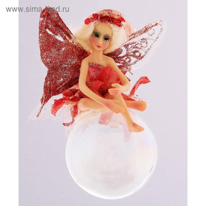 """Новогоднее украшение """"Красная фея на волшебном шаре"""""""