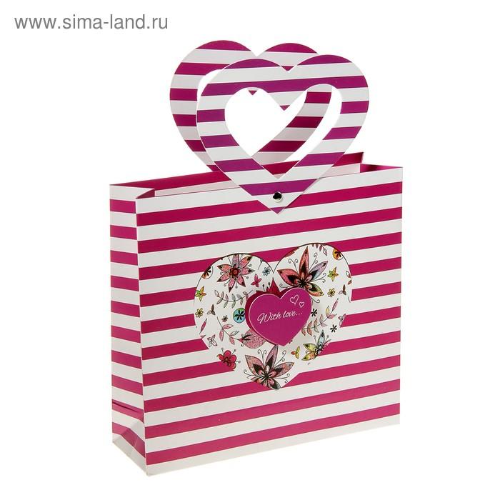 """Пакет ламинированный """"С любовью"""", цвет малиновый"""