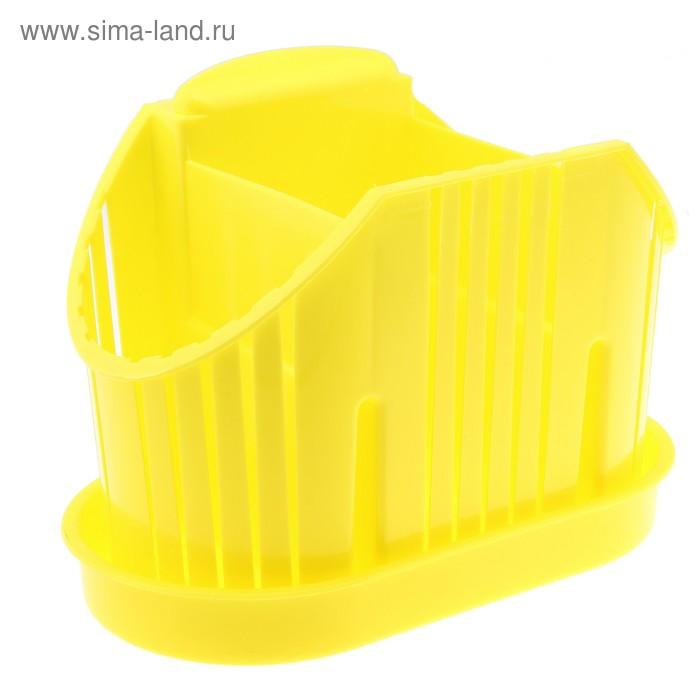 """Сушилка для столовых приборов """"Комфорт"""", 3 секции, поддон, лимон"""