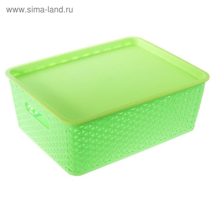 """Контейнер для хранения 36*30*14 см """"Плетенка"""", зеленый"""