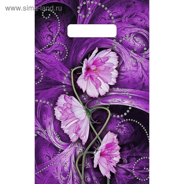 """Пакет """"Сиреневый цветок"""" полиэтиленовый, с вырубной ручкой, 20х30 см, 30 мкм"""