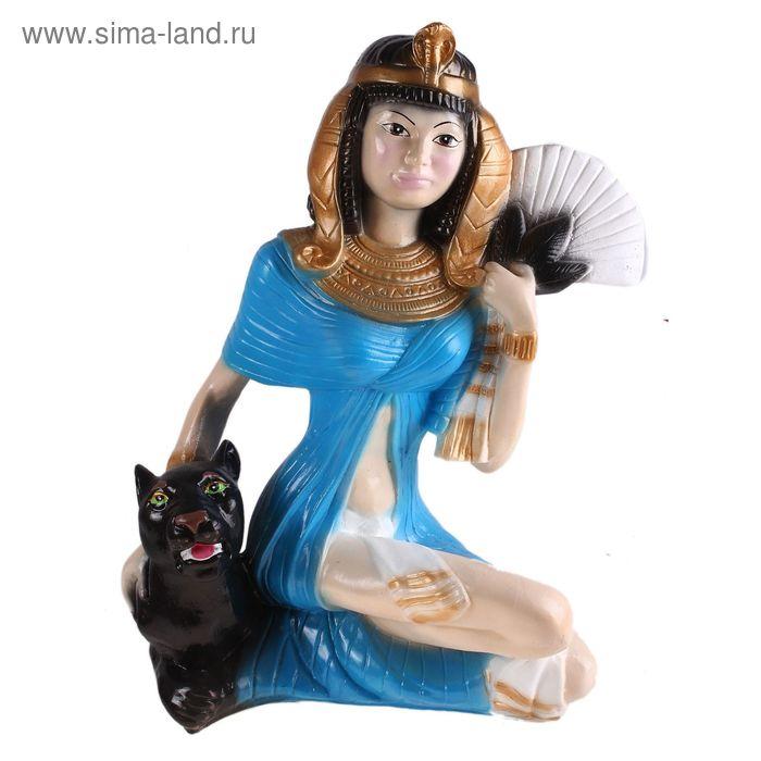 """Статуэтка """"Клеопатра на пантере"""" в голубом платье"""