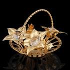 Сувенир «Корзиночка с цветами», 6,5×6,5×6,5 см, с кристаллами Сваровски