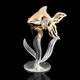 Сувенир «Рыба на серебристых водорослях», с кристаллами Сваровски, 9 см