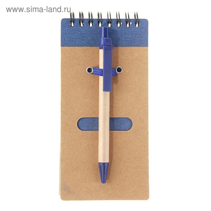 Блокнот А6 30л на гребне с ручкой крафт с синим