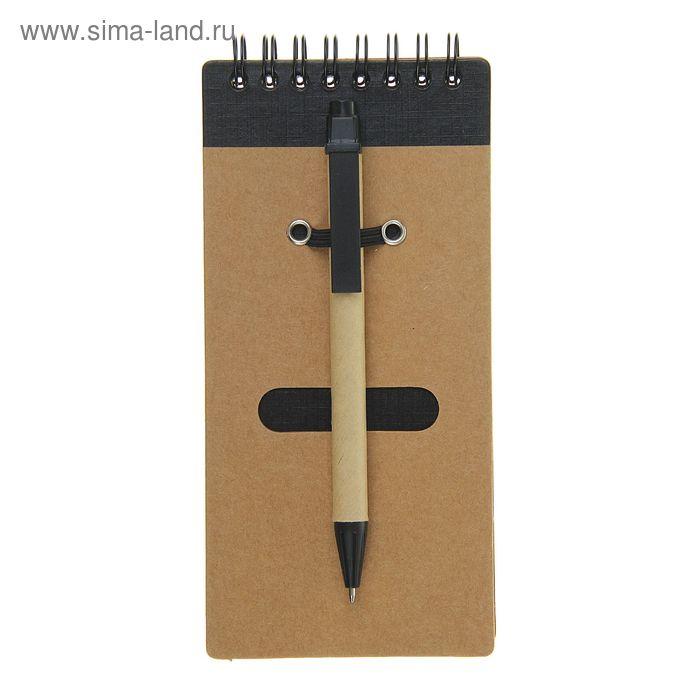 Блокнот А6 30л на гребне с ручкой крафт с черным