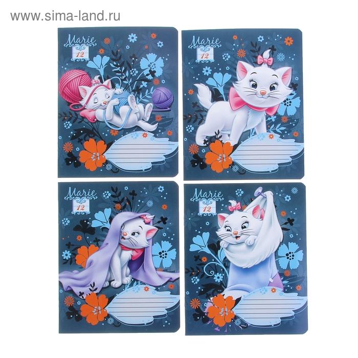 Тетрадь 12 листов линейка Marie Cat, обложка мелованный картон, выборочный УФ-лак, МИКС