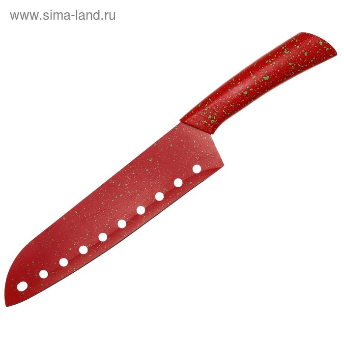 """Нож с антиналипающим покрытием """"Сочные брызги"""", лезвие 21 см с перфорацией, цвета МИКС"""
