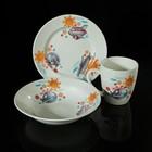 """Набор детской посуды """"Вертолётик"""", 3 предмета: тарелка d=17,5 см, миска 250 мл (d=17,5 см), кружка 260 мл"""