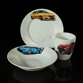 """Набор детской посуды """"Гонки"""", 3 предмета: тарелка d=17,5 см, миска 250 мл (d=17,5 см), кружка 260 мл, рисунок МИКС"""