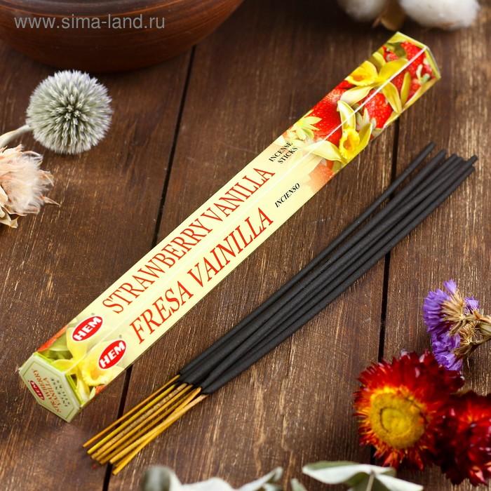 """Благовония """"HEM Vanilla-strawberry"""" (Ваниль-клубника), шестигранник, 20 палочек"""