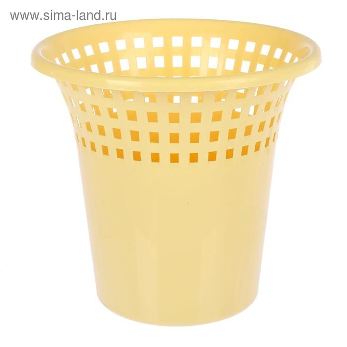 """Корзина для мусора 7 л """"Цветочная соната"""", цвет желтый"""