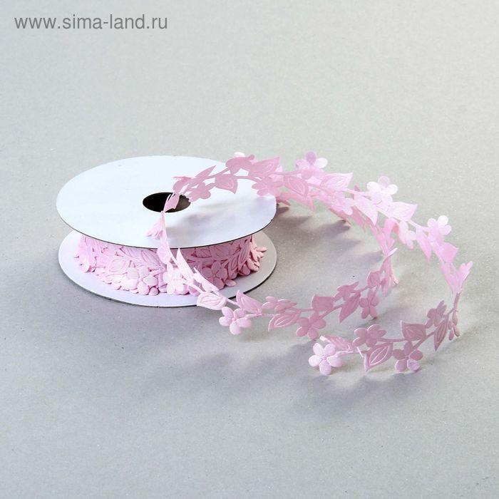 """Лента декоративная """"Букет цветов"""", цвет розовый"""