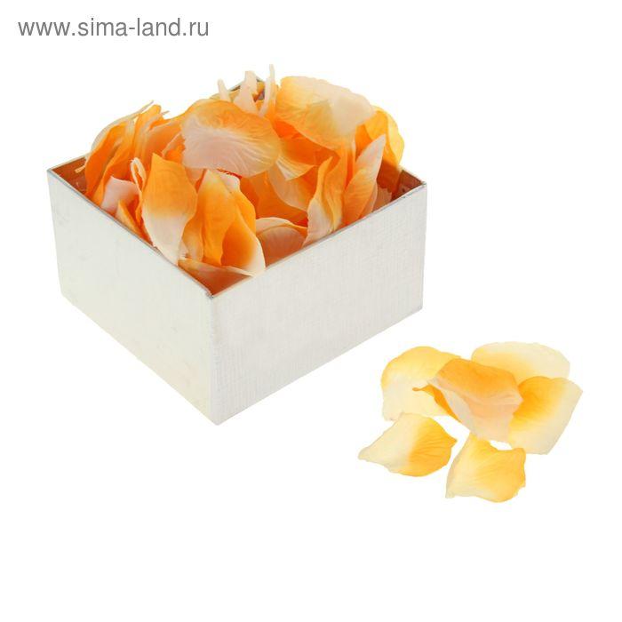 Лепестки роз (упаковка 150 шт), цвет оранжево-белый