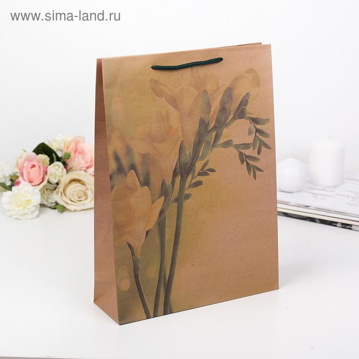 "Пакет крафт ""Желтый цветок"", 31,5 х 9,5 х 41,5 см"