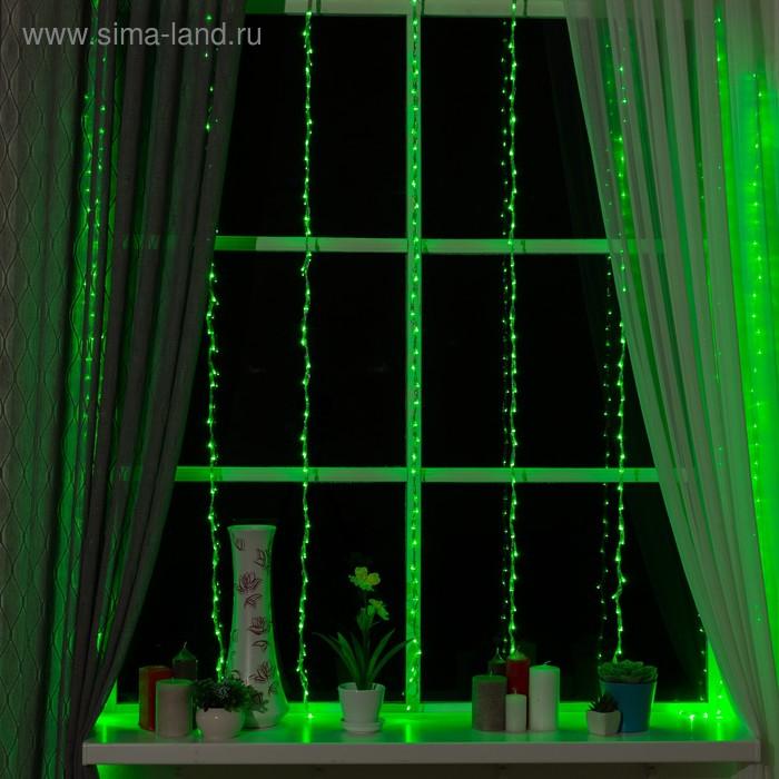 """Гирлянда """"Дождь"""" Ш:2 м, В:1,5 м, нить силикон, LED-400-220V, контр. 8 р, ЗЕЛЕНЫЙ"""