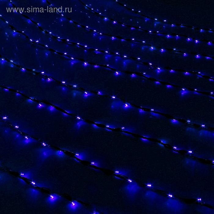 "Гирлянда ""Дождь"" Ш:2 м, В:1,5 м, нить темная, LED-400-220V, контр. 8 р, СИНИЙ"