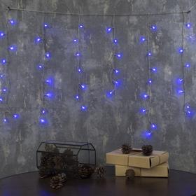 """Гирлянда """"Бахрома"""" Ш:1,2 м, В:0,6 м, нить силикон, LED-60-220V, контр. 8 р. СИНИЙ"""