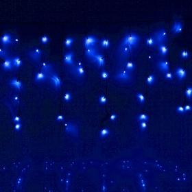 """Гирлянда """"Бахрома"""" Ш:1,2 м, В:0,6 м, нить темная, LED-60-220V, контр. 8 р. СИНИЙ"""