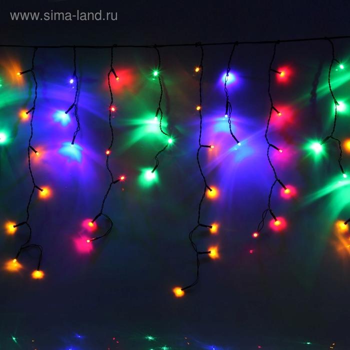 """Гирлянда """"Бахрома"""" Ш:1,2 м, В:0,6 м, нить темная, LED-60-220V, контр. 8 р. МУЛЬТИ"""