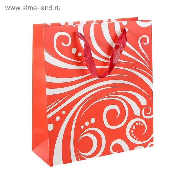 """Пакет ламинированный """"Завитки"""", цвет красный"""