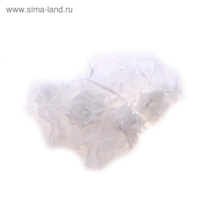 Ленты на капот, цветы из органзы, набор 3 шт, цвет белый