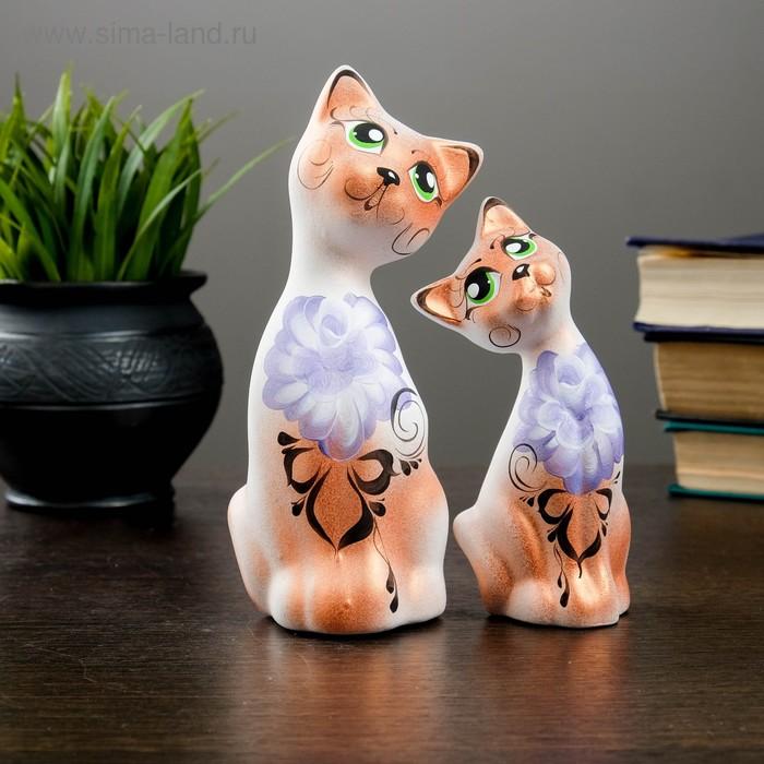 """Сувенир Набор """"Love Коты"""" ушастые, 2 шт белые, медь, микс"""