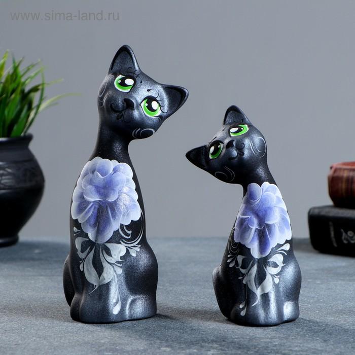 """Сувенир набор 2 шт. """"Love коты"""" ушастые, чёрные, серебро, микс"""
