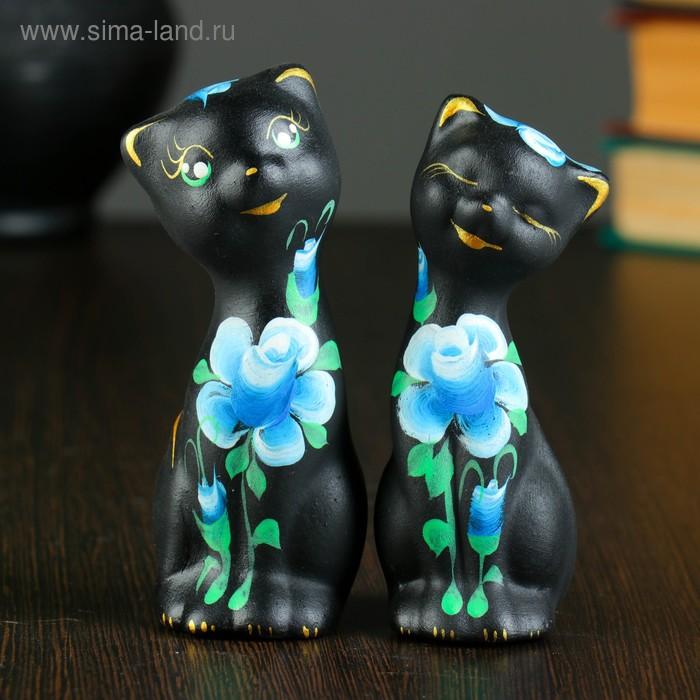 """Сувенир Набор """"Love Коты"""" с розами, 2 шт черные"""