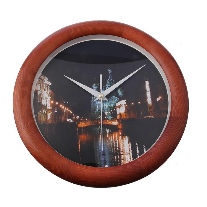 Часы настенные деревянные Сюжетные Д1МД/7-129 Город дерево