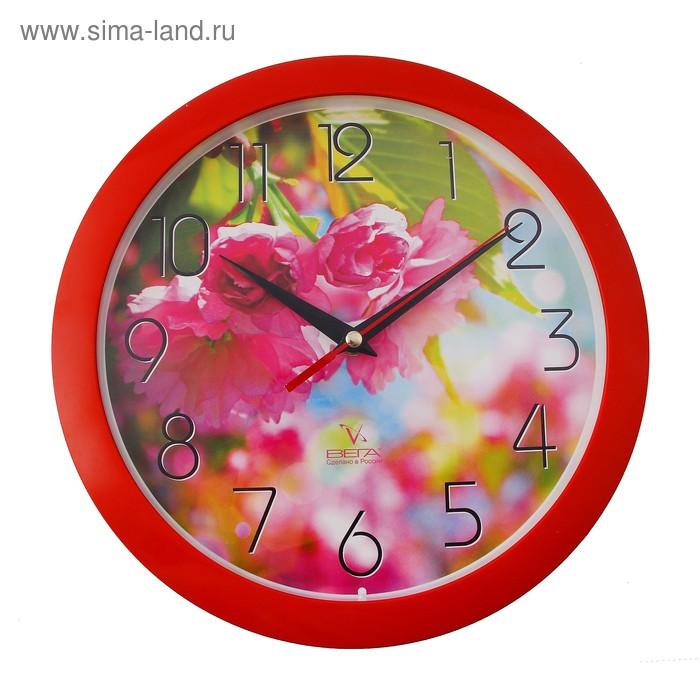 """Часы настенные круглые """"Азалия"""", цветы"""