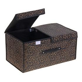 """Короб для хранения с двойной крышкой 50х30х25 см """"Роскошь"""", цвет чёрно-золотой"""