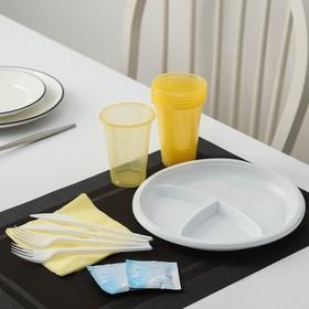 Набор одноразовой посуды 'Праздник': 6 вилок, 6 ножей, 6 стаканов 200 мл, 6 тарелок по 3 секции, 6 салфеток, цвет МИКС Ош
