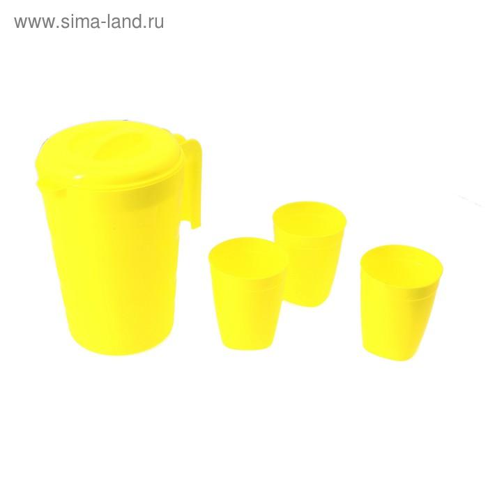 """Набор """"Фазенда"""": кувшин для воды 2 л, 3 стакана, цвет лимон"""