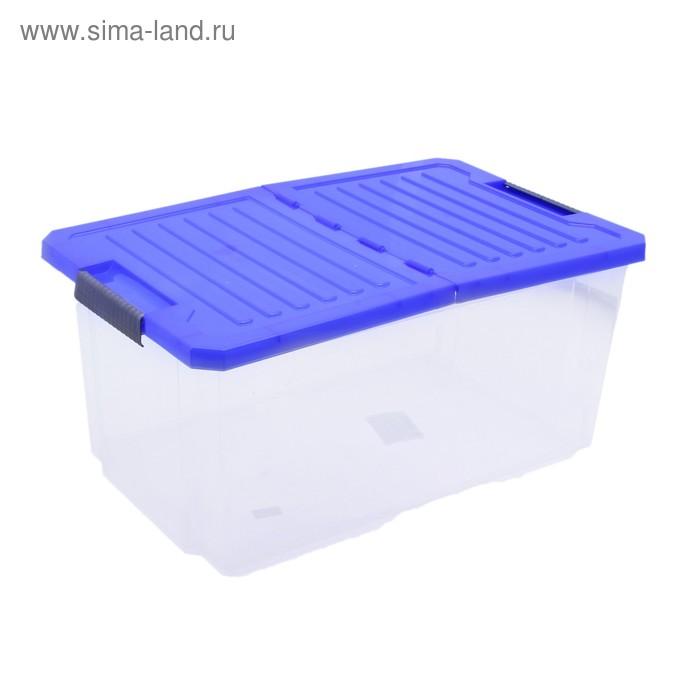 Контейнер для хранения 12 л Unibox прямоугольный, со складной синей крышкой