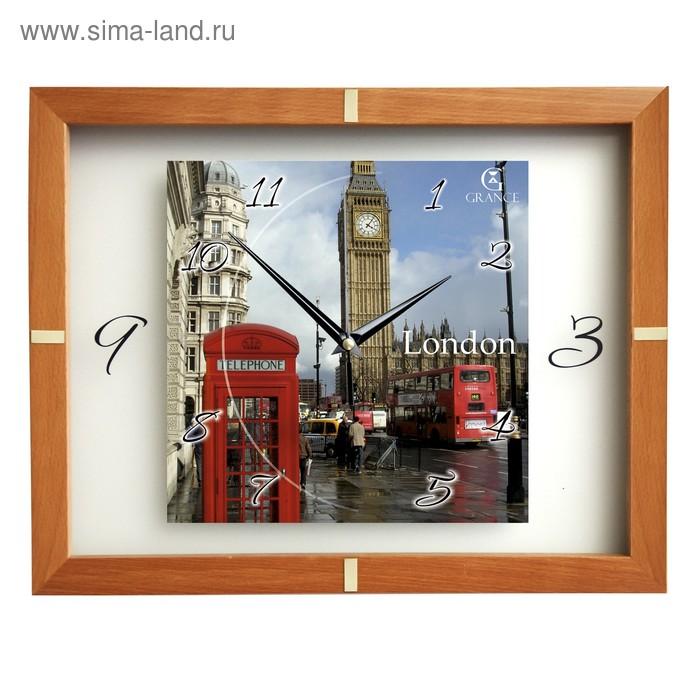 """Часы настенные деревянные застекленные """"Лондон"""", арабские цифры, светлое дерево"""