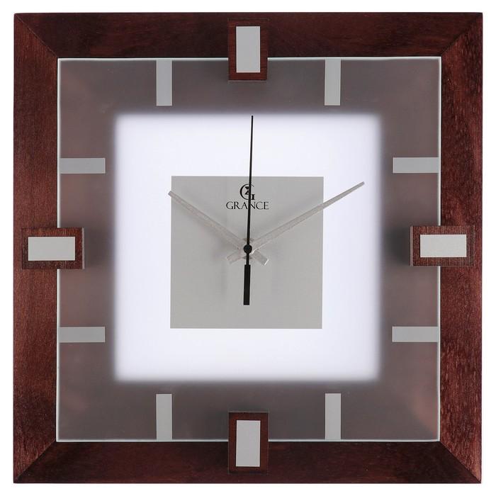 """Часы настенные деревянные """"Grance"""", матовое стекло"""