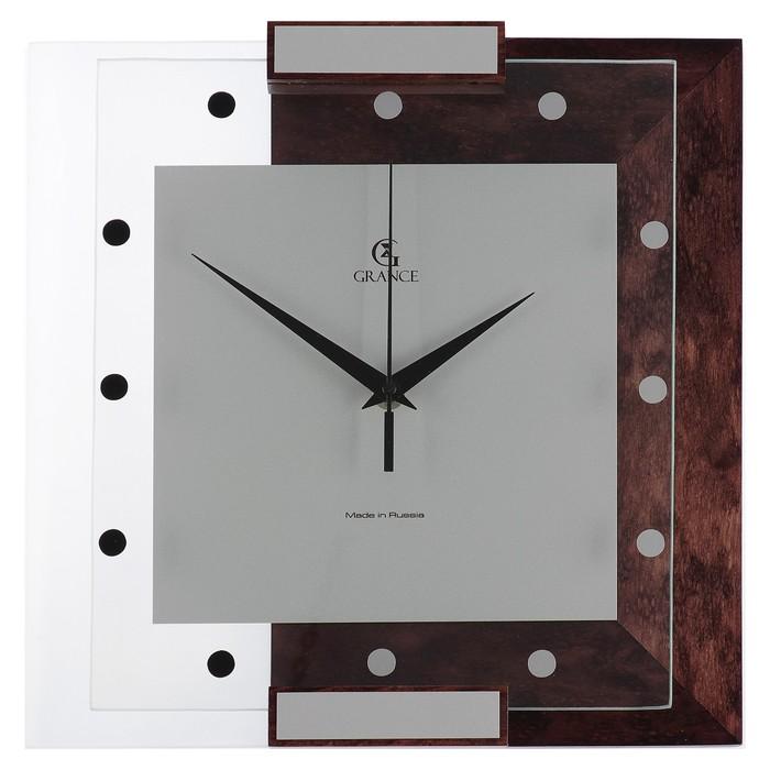 """Часы настенные деревянные """"Grance"""", циферблат точки"""