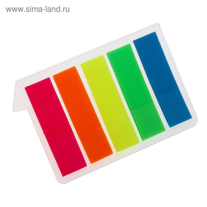 Блок-закладка с липким краем пластик 15л*5 флуор в блистере МИКС Школа талантов
