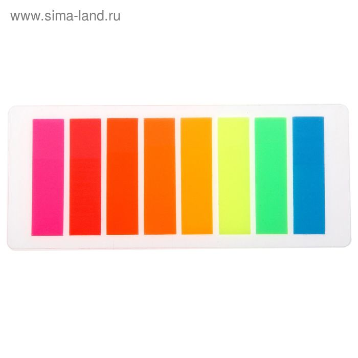 Блок-закладка с липким краем пластик 15л*8 флуор МИКС в блистере Школа талантов