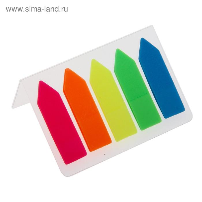 Блок-закладка с липким краем пластик Стрелки 15л*5 флуор МИКС в блистере Школа талантов