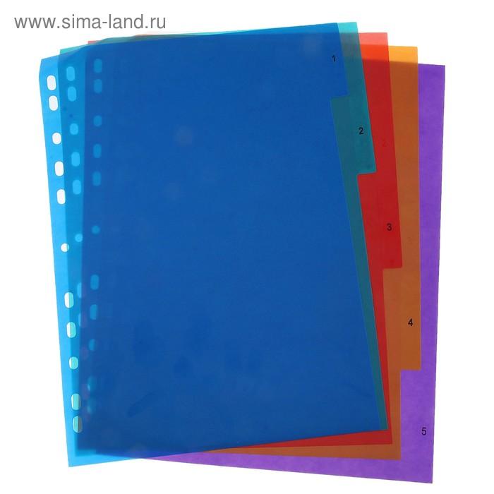 Набор разделителей формат А4 5 листов пластик 5цветов 1-5цифр