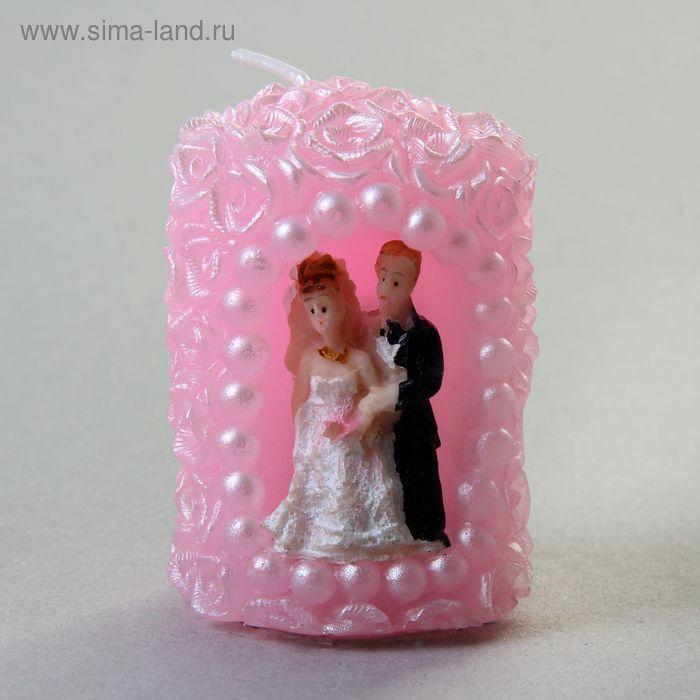 """Свеча восковая """"Молодожены в арке"""", цвет розовый"""