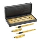 Ручки шариковые подарочные 2шт в кожзам футляре Gold (перо+капиллярные)